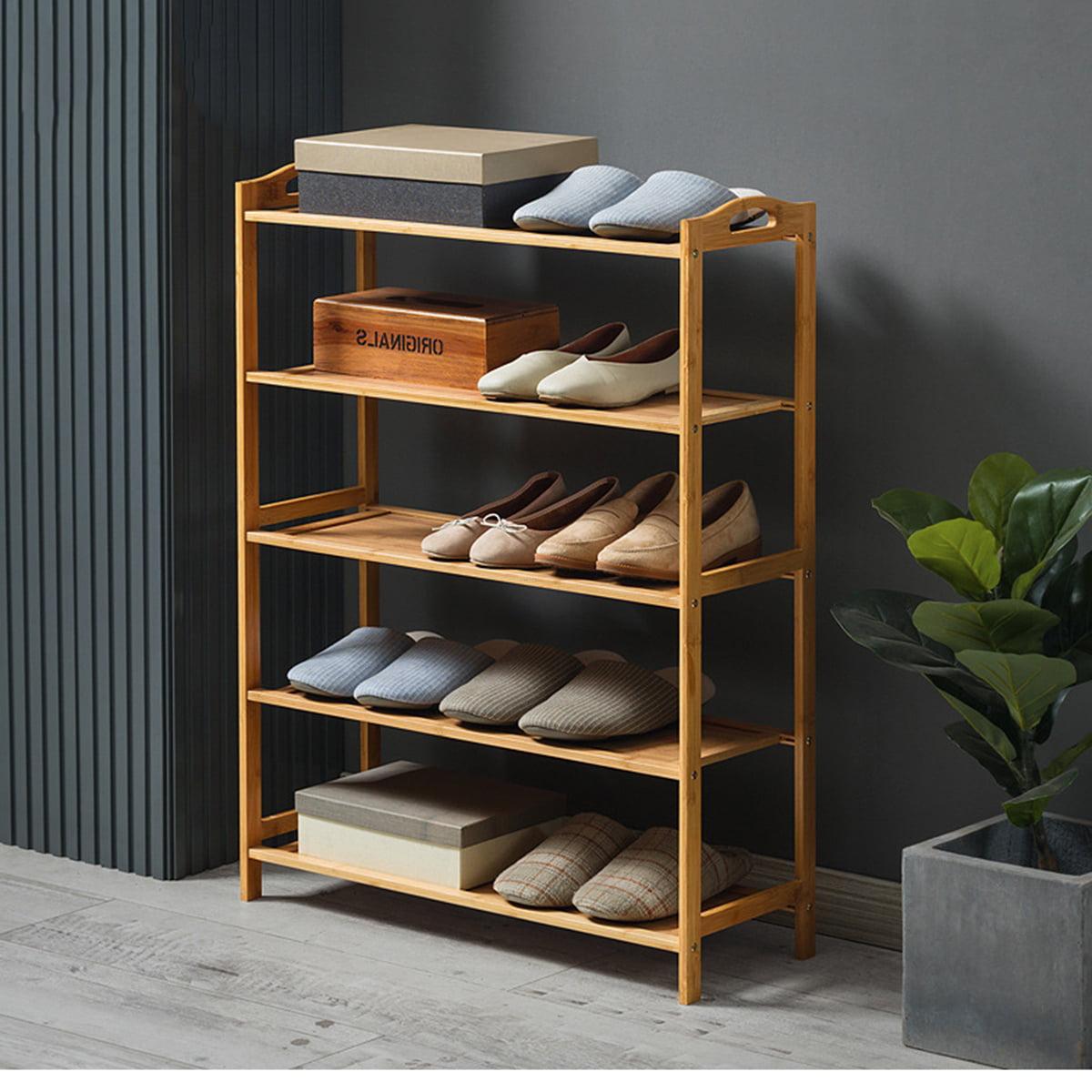 High Quality 6 Tier Wood Bamboo Shelf Entryway Storage Shoe Rack Home Furniture