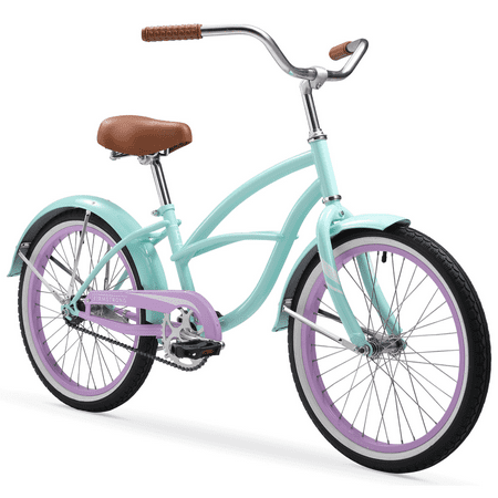 Firmstrong Special Edition Urban Girl Cruiser Bike, 20 Inches, Single-Speed, Seafoam with Purple Rims