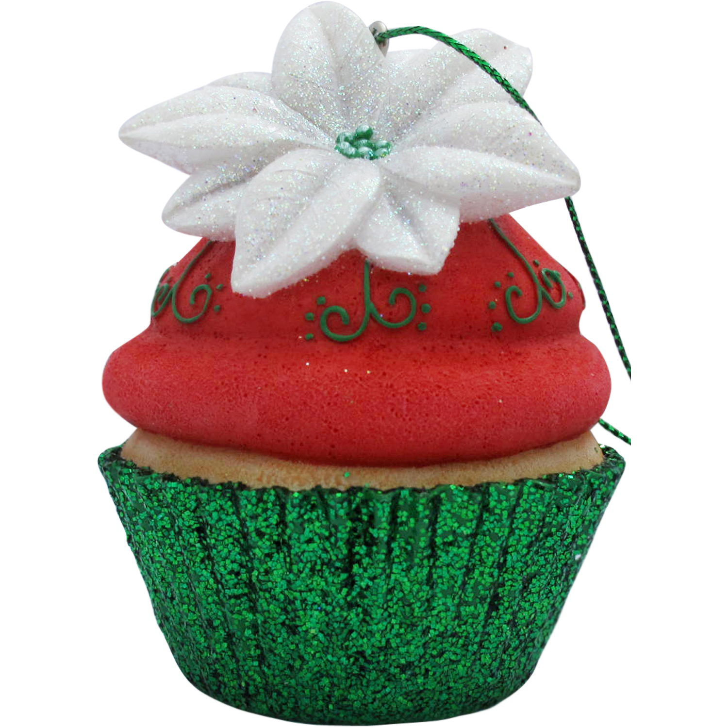 Red Poinsettia Cupcake Christmas Tree Ornament