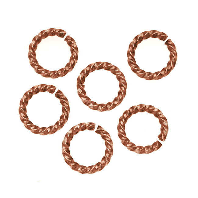 Nunn Design Antiqued Copper Plated Open Jump Rings Twist 11.5mm 14 Gauge (10)