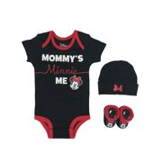 Minnie Mouse Baby Girl Outfit Short Sleeve Bodysuit, Booties & Cap Shower Gift Set, 3-piece