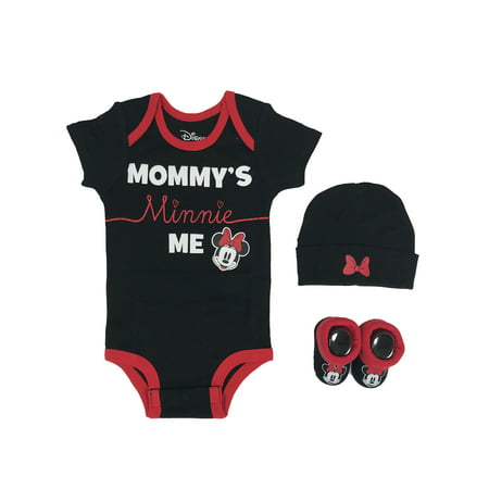 Disney Minnie Mouse Short Sleeve Bodysuit, Booties & Cap, 3-piece Layette Gift Set (Newborn Baby