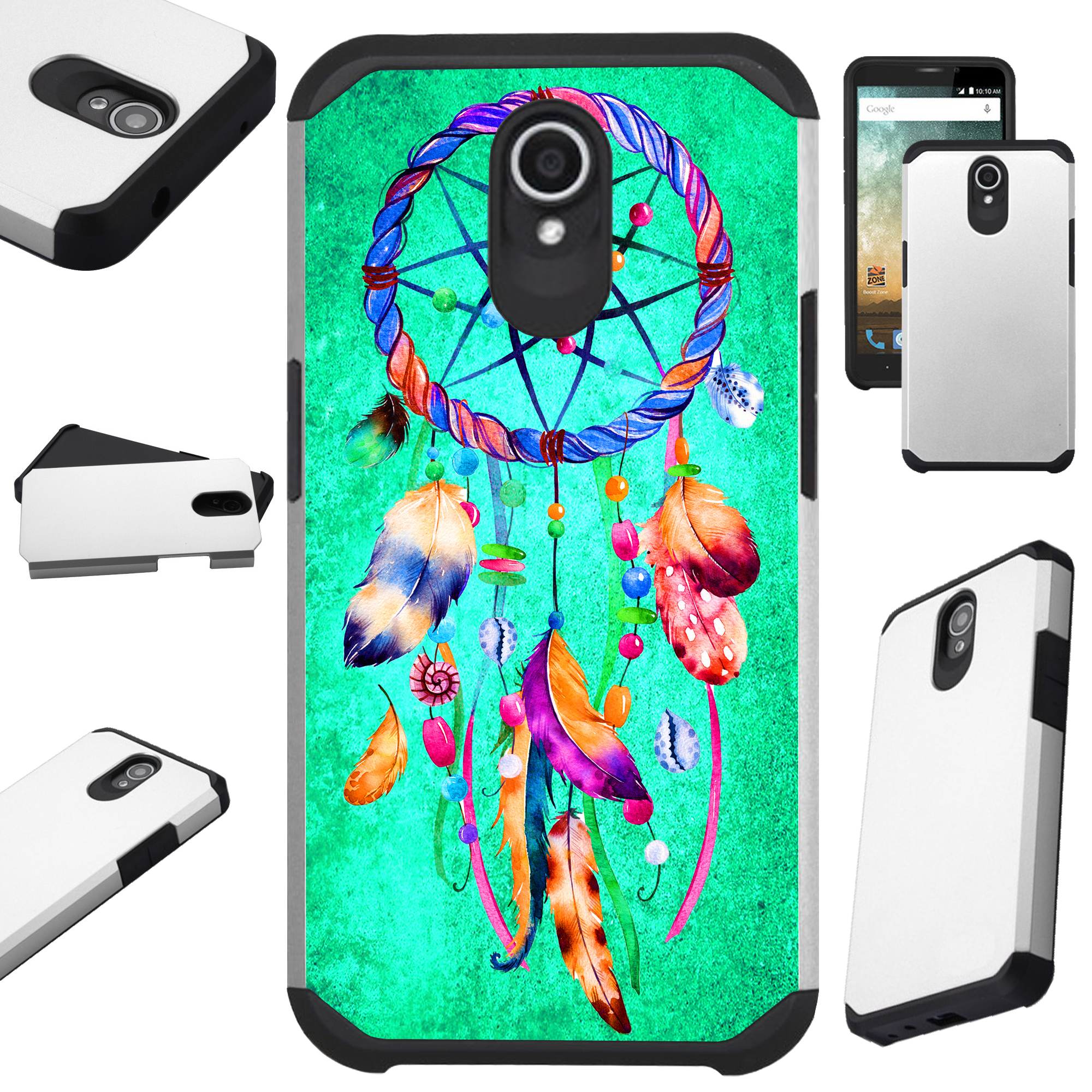 Compatible Alcatel idealXTRA | 1X Evolve (2018) | TCL LX Phone Case Hybrid TPU Fusion Cover (Teal Dreamcatcher)