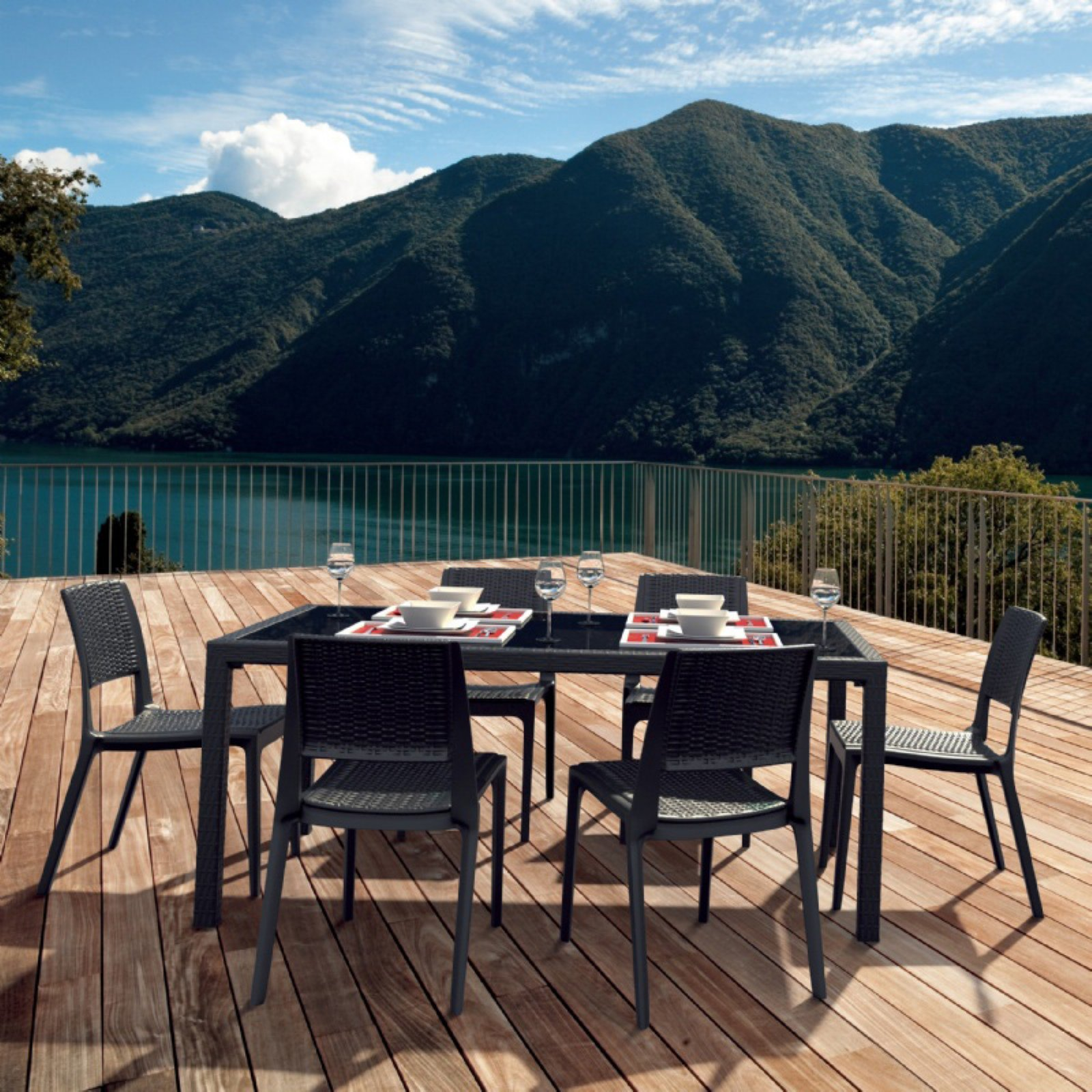 Siesta ISP997S Miami Wickerlook 7 Piece Rectangle Dining Set with Side Chairs