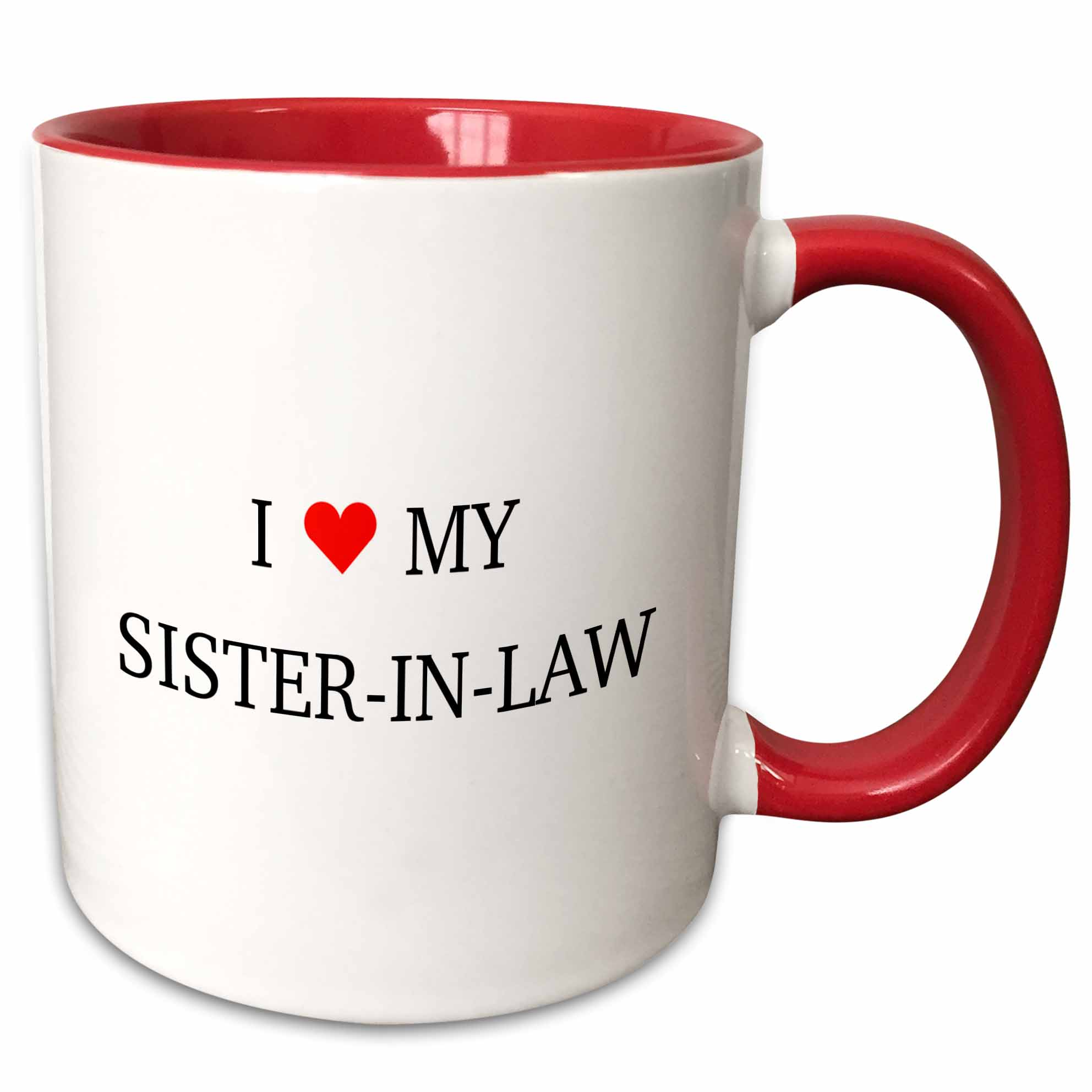 3dRose I HEART MY SISTER IN LAW - Two Tone Red Mug, 11-ounce