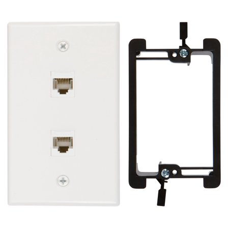 2 Port Cat6 Wall Plate, Female-Female White with Single Gang Low Voltage Mounting Bracket Device (2, 2 Port)