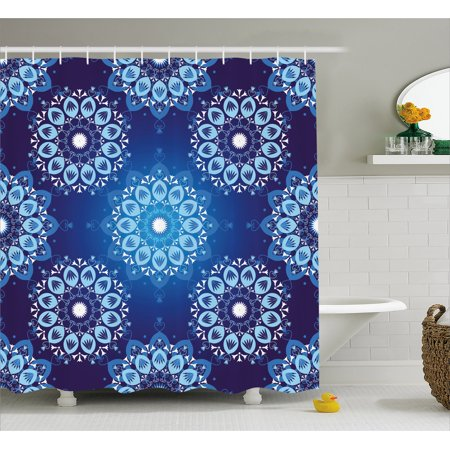 Dark Blue Shower Curtain Vintage Christmas Pattern With Lace Like Snowflake Motifs Romantic Fabric