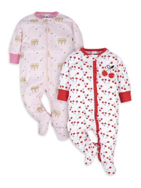 Gerber Newborn Baby Girls Sleep 'N Play Footie Pajamas, 2-Pack