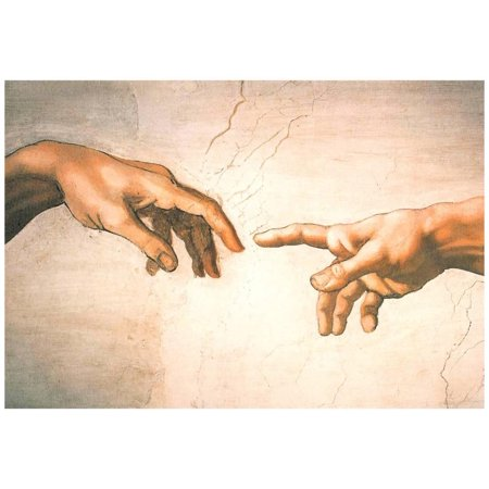 Michelangelo Creation of Adam Detail Sistine Chapel Art Print Poster ()