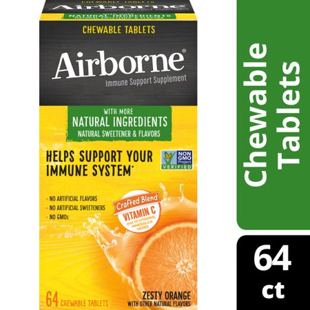 Airborne Immune Support Tablets with Vitamin C, Zesty Orange - 64 Chewable Tablets Immune Support Wellness Oil