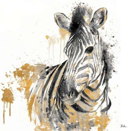 Water Zebra With Gold Canvas Art - Patricia Pinto(24X24)