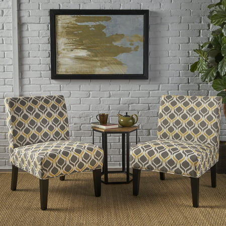 Magnificent Noble House Kerri Fabric Slipper Accent Chairs Set Of 2 Yellow Grey Pdpeps Interior Chair Design Pdpepsorg