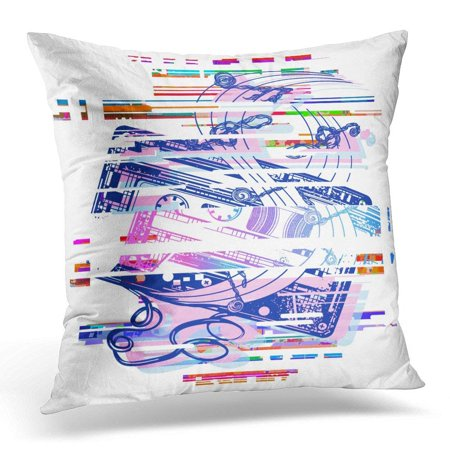 Glitch Music - CMFUN 1980S Glitch Audio Cassette and Music Notes Tattoo and Design Symbol of Retro Nostalgia 80Th and 90Th 80S Pillow Case Pillow Cover 20x20 inch