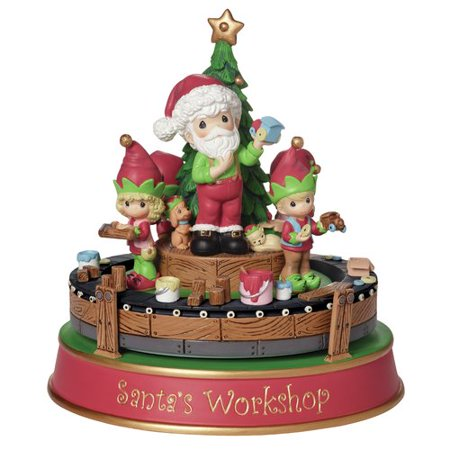 Precious Moments Santa's Workshop Deluxe Music Box Resin Figurine 161107 (Precious Moments Christmas Figurines)