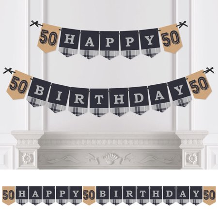 50th Milestone Birthday - Party Bunting Banner - Vintage Party Decorations - Happy - 50th Birthday Milestone