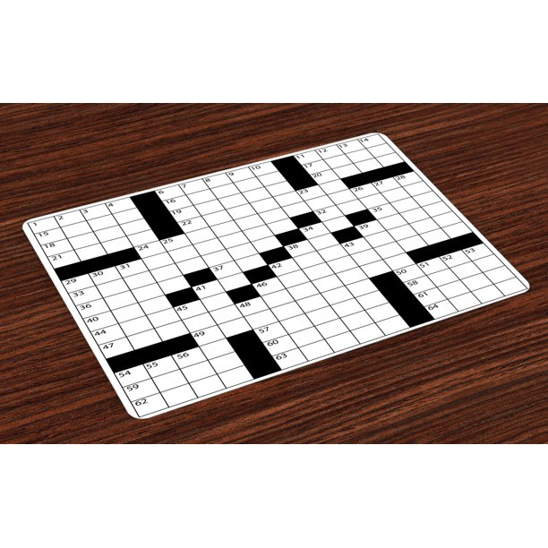 Word Search Puzzle Placemats Set Of 4 Blank Newspaper Style Crossword Puzzle With Numbers In Word Grid Washable Fabric Place Mats For Dining Room Kitchen Table Decor Black And White By Ambesonne
