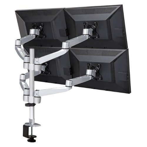 "Mount-It! Quad Monitor Desk Mount for 4K, 3D, LCD or LED, 13"" – 24"" Screen Sizes, Articulating Arm Design, 80 Lbs Capacity, Silver (MI-63156)"
