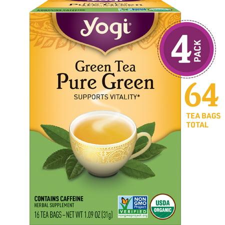 (Pack of 4) Yogi Tea, Green Tea Pure Green Tea, Tea Bags, 16 Ct, 1.09 OZ