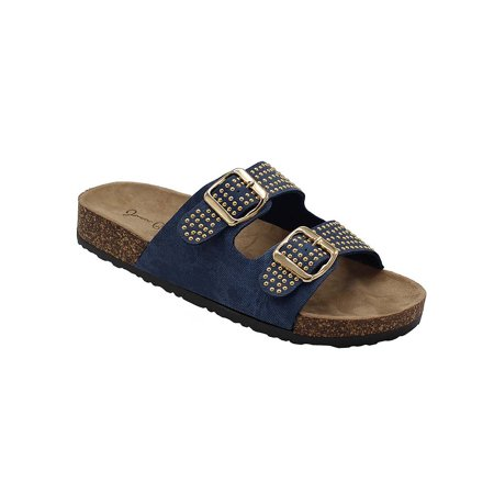 (Kylie-07 Women Double Buckle Straps Sandals Flip Flop Platform Footbed Sandals Denim 6.5)