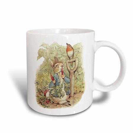 3dRose Peter Rabbit in the Garden - Vintage Art, Ceramic Mug,