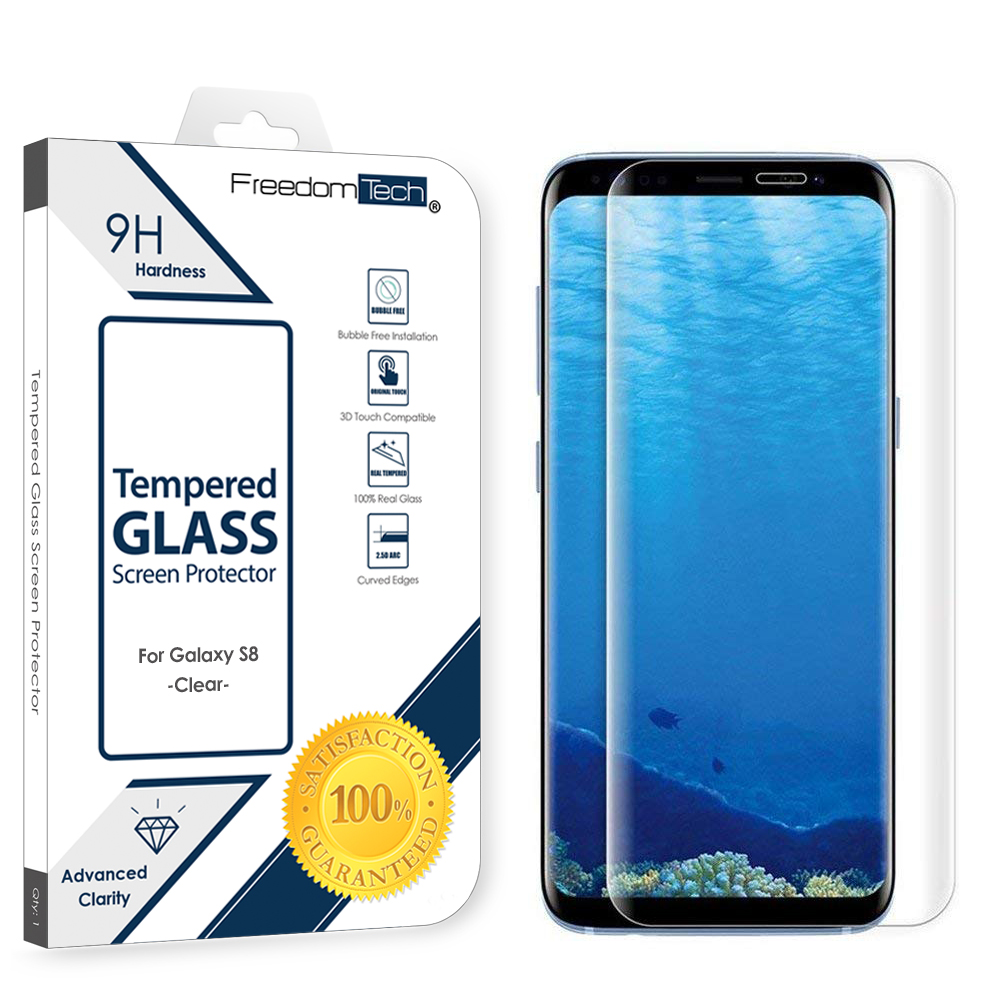 Samsung Galaxy S8 Screen Protector Glass Film Full Cover 3D Curved Case Friendly Screen Protector Tempered Glass for Samsung Galaxy S8 Clear