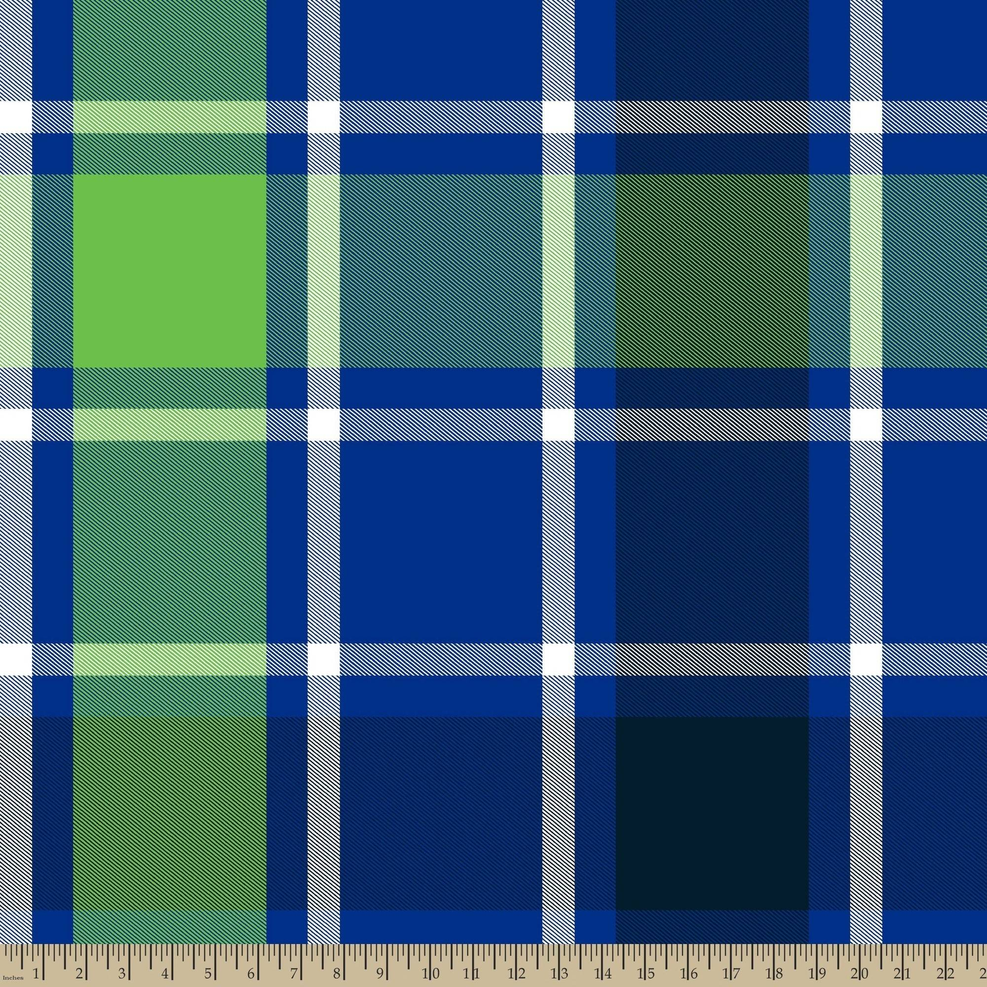 "Bruno Plaid, Dark Blue, Blizzard Fleece, 59/60""W, Fabric by the Yard"
