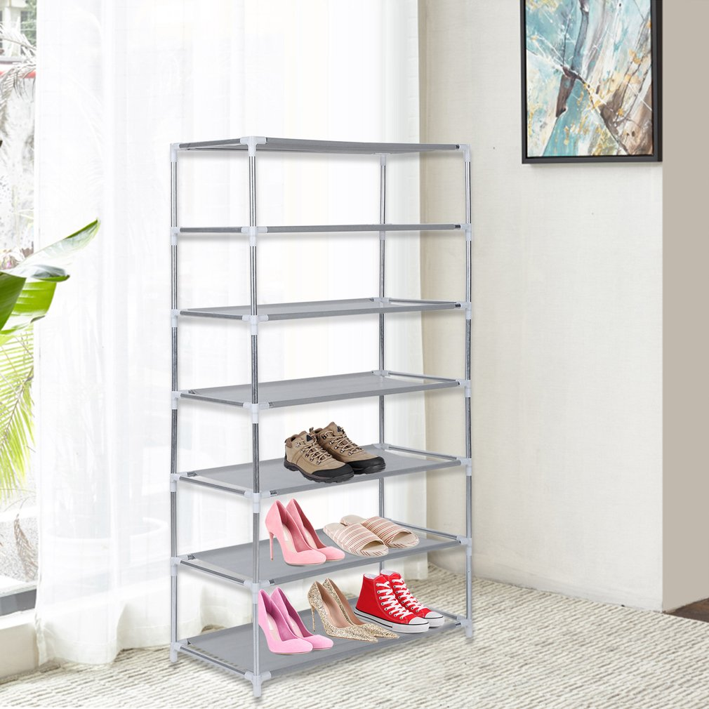 7-Tiers Metal Shoes Rack Stand Shoes Storage Organizer Fabric Shelf Holder Stackable Closet US