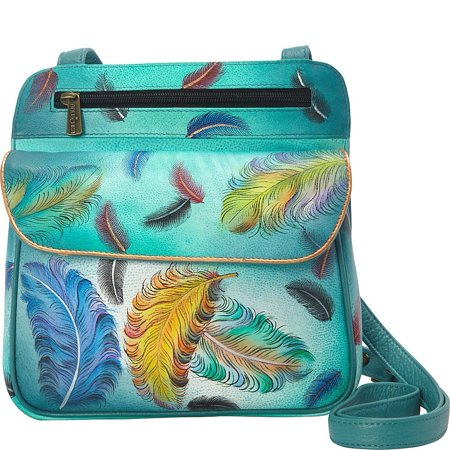 Anuschka Leather Women's Pewter Multi Pocket Travel Crossbody Bag Floating Feathers OS