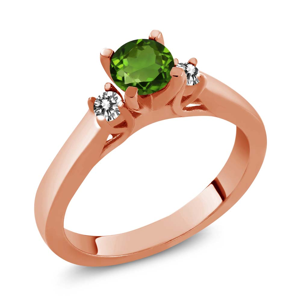 0.63 Ct Green Chrome Diopside White Diamond 925 Rose Gold Plated Silver Ring