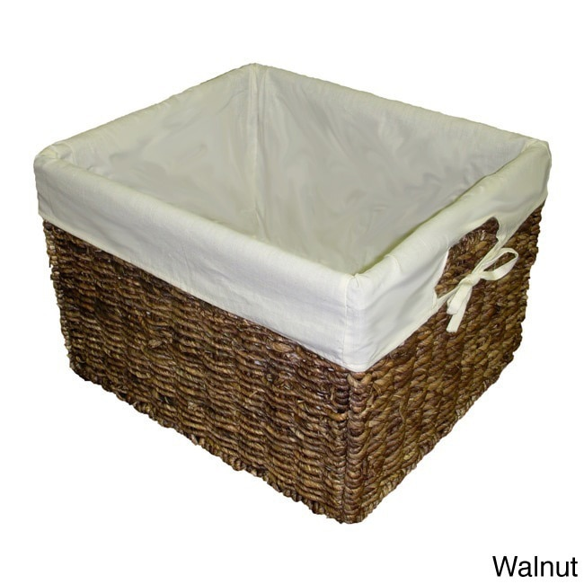America Basket Handcrafted Large Woven Maize Rectangular Storage Baskets (Set of 2)