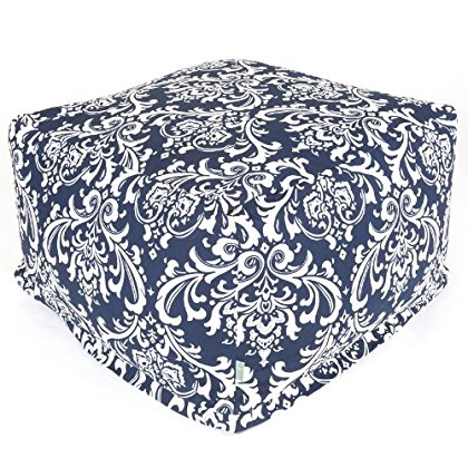 Navy and White French Quarter Large Ottoman