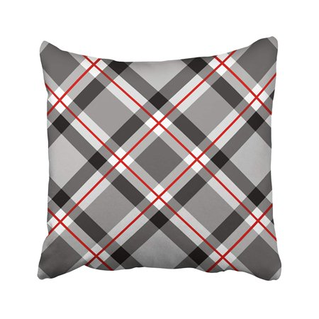 WOPOP Large Modern Plaid Black White Gray And Red Pillowcase Pillow Cover 18x18 inches ()