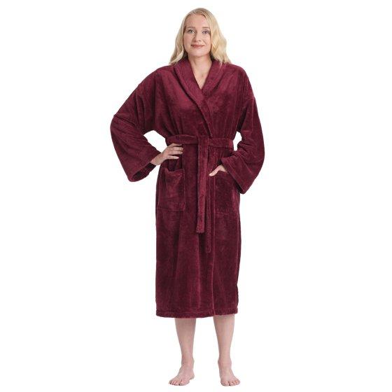 Women s Shawl Collar Satin Look Fleece Plush Robe Turkish Bathrobe 145fbad70