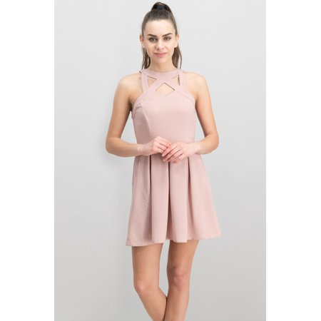 Speechless Speechless Cage Front Fit Amp Flare Dress