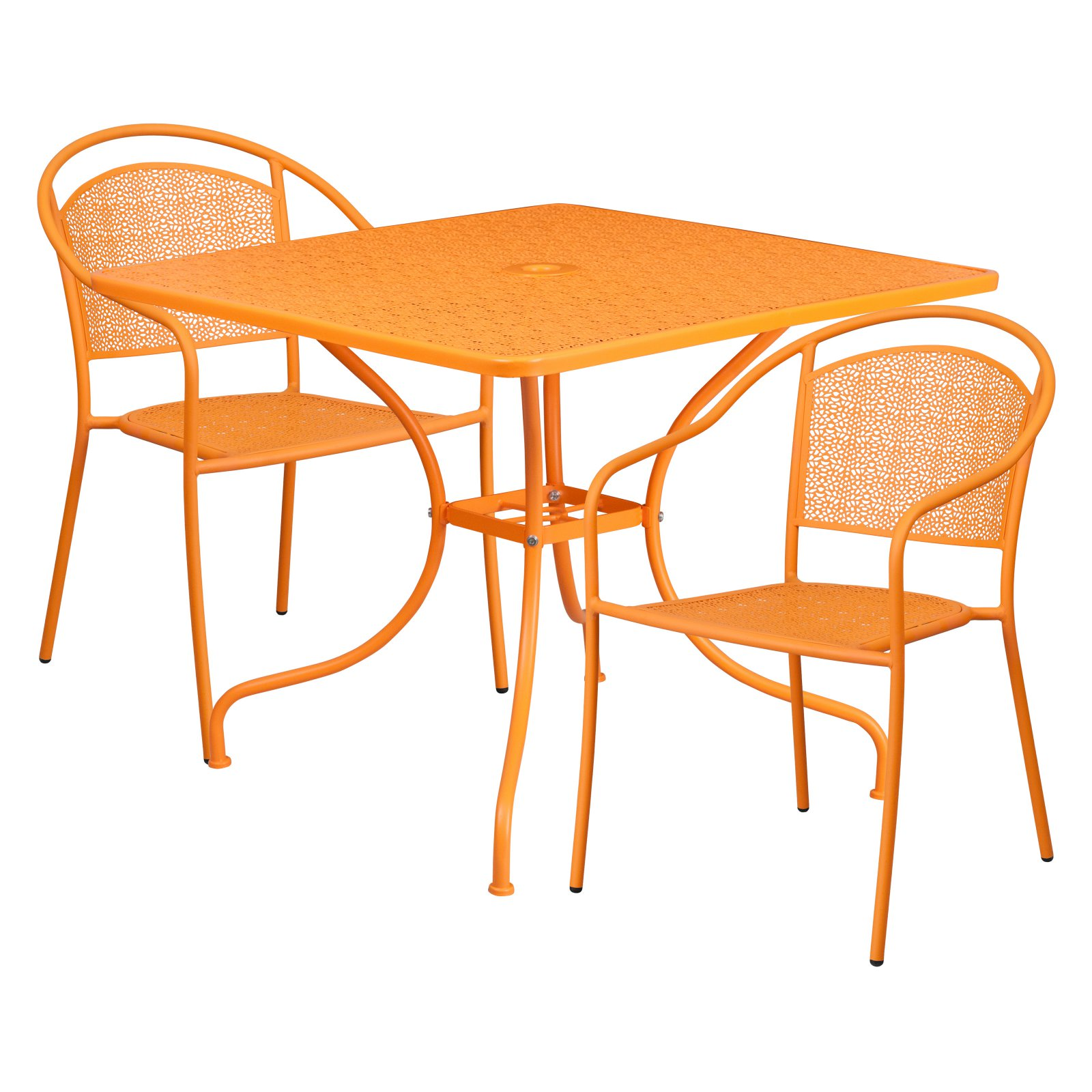 "Flash Furniture 35.5"" Square Indoor-Outdoor Steel Patio Table Set with 2 Round Back Chairs, Multiple Colors"