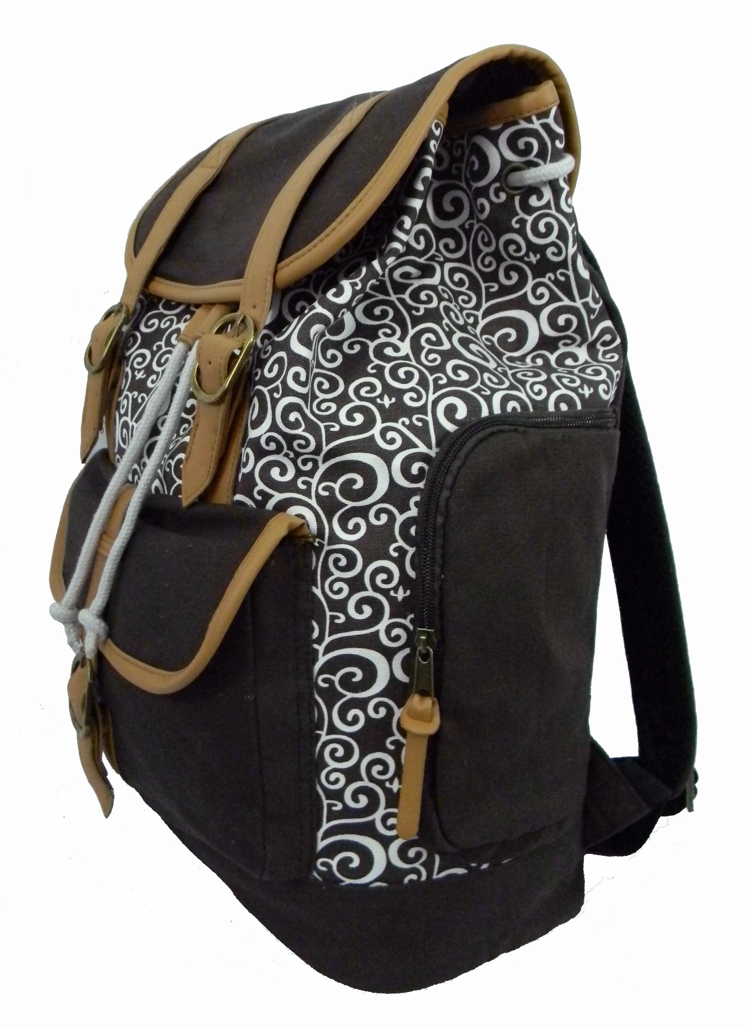 Canvas Laptop Bookbag Vintage Cotton Canvas Daypack Casual Canvas Laptop Backpack Pattern Printed College Student Canvas... by K-Cliffs