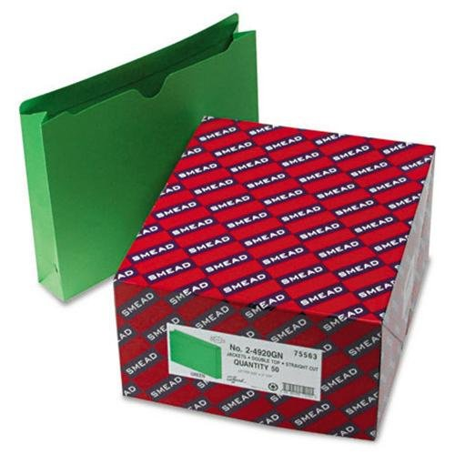 "Smead 75563 Green Colored File Jackets - Letter - 8.50"" Width X 11"" Length Sheet Size - 2"" Expansion - 11 Pt. - Green - 50 / Box (75563_40)"