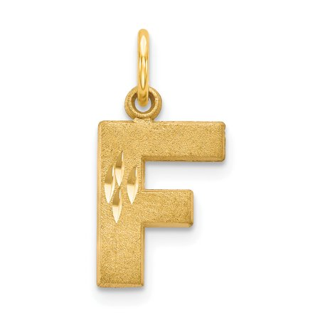 - 14kt Yellow Gold Initial Monogram Name Letter F Pendant Charm Necklace Fine Jewelry Ideal Gifts For Women Gift Set From Heart
