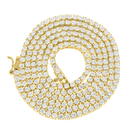 1 Row Tennis Link Necklace Round Cut 20 Inch Chain Lab Created Cubic Zirconias 14k Gold Tone (Gold Tennis Necklace)