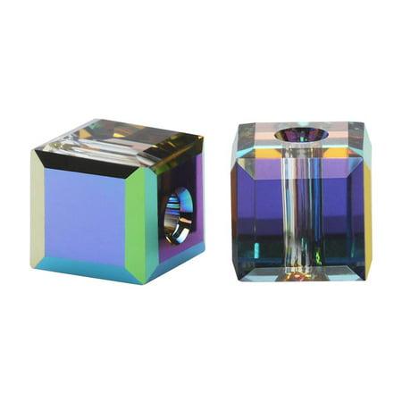 Swarovski Crystal, #5601 Cube Beads 6mm, 4 Pieces, Vitrail - Swarovski Crystal Cubes 6mm Light