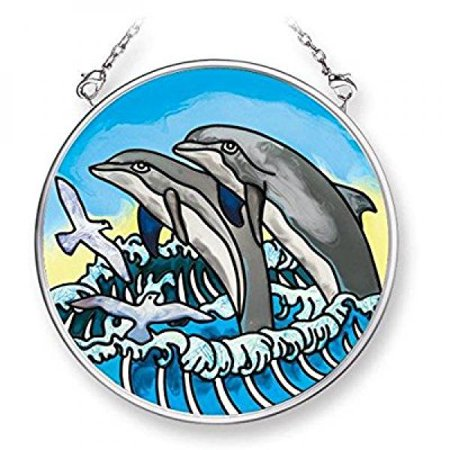 Amia 42083 3-1/2-Inch Hand Painted Glass Circle Suncatcher, Small, Pair of Dolphin -
