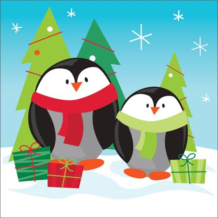 Club Pack of 192 Frozen Friends Penguins Disposable Paper Party Beverage napkins 5
