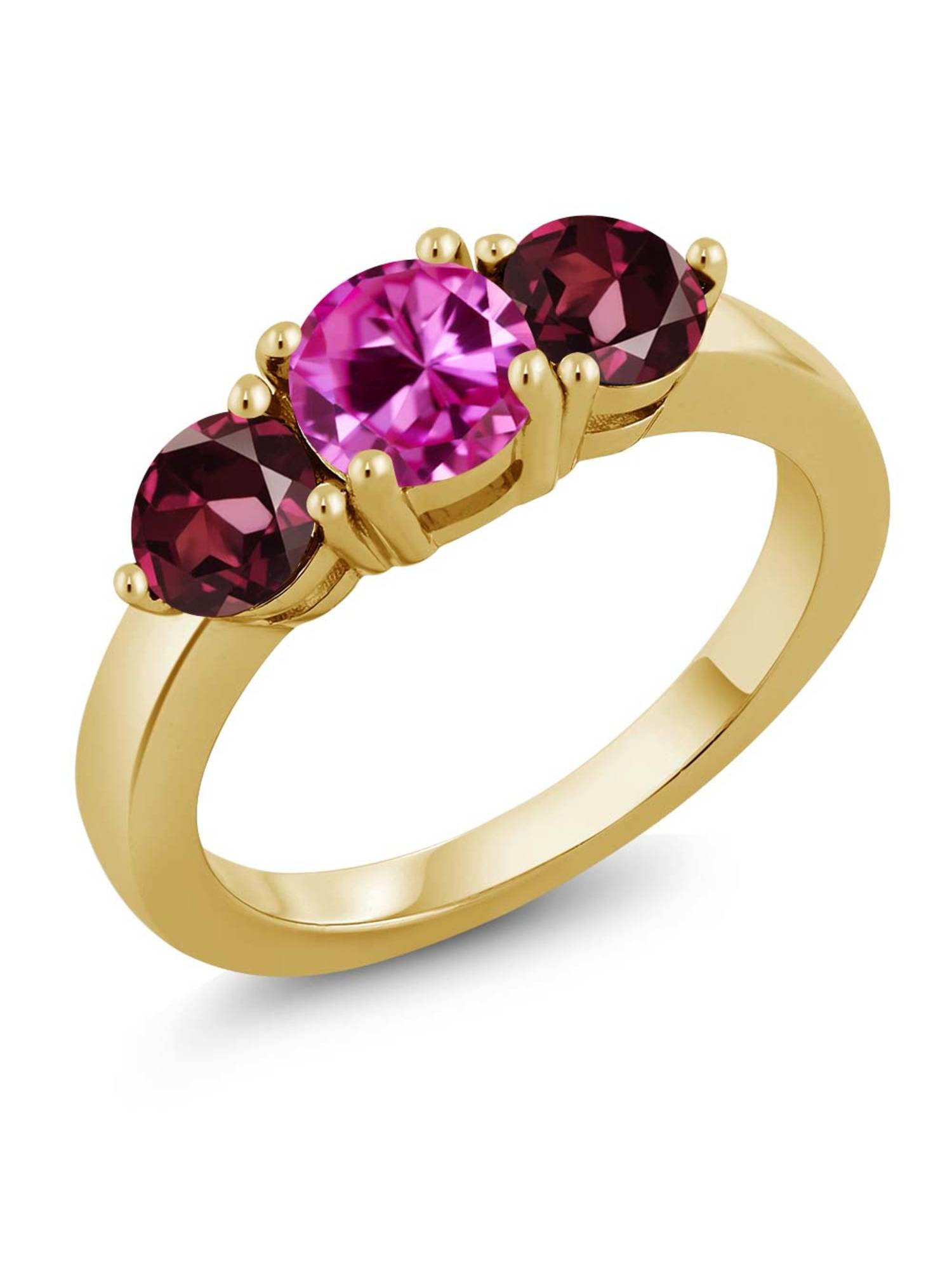 2.28 Ct Pink Created Sapphire Red Rhodolite Garnet 18K Yellow Gold Plated Silver Ring by