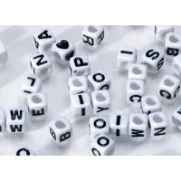 Darice White with Black Font Alphabet Beads, 6mm, 160 Pieces