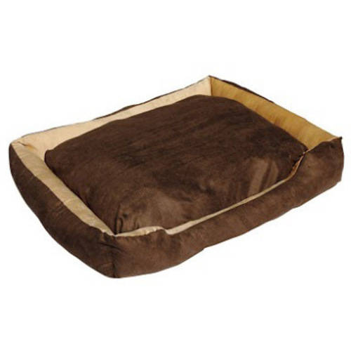 ALEKO LBD1501L Soft Plush Pet Cushion Crate Bed for Dogs and Cats with Removable Insert Pillow, Large, Caramel with Brown