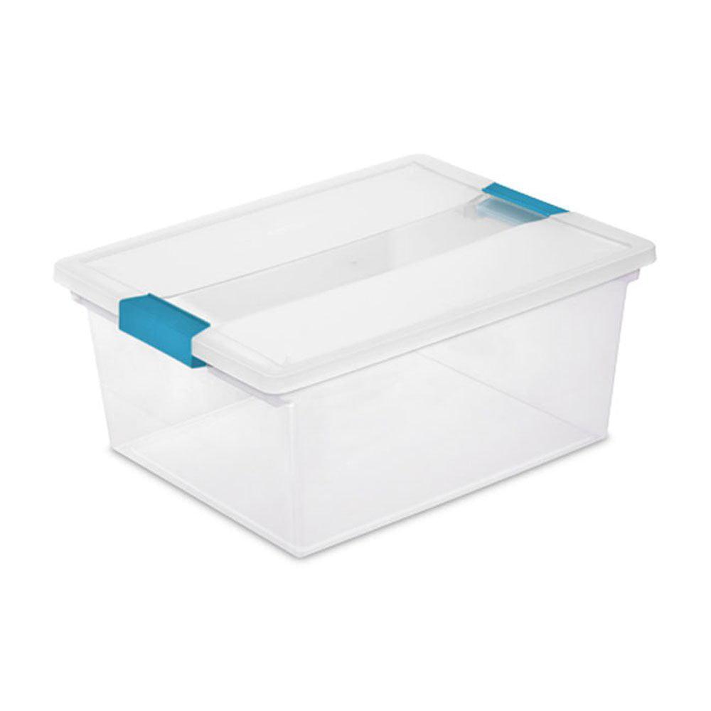Sterilite Deep Clip Box Clear Plastic Storage Tote ...
