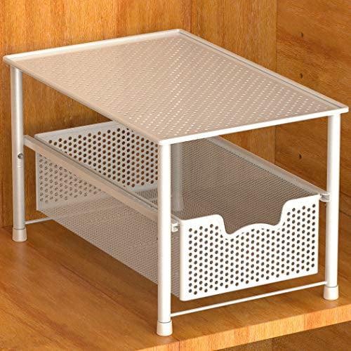 Apsan Stackable Drawer Under Sink Cabinet Sliding Basket Organizer and Storage Black