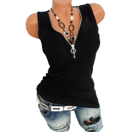 Women Summer Casual V Neck Sleeveless Vest Tops Pure Color Shirt T-shirt Tank