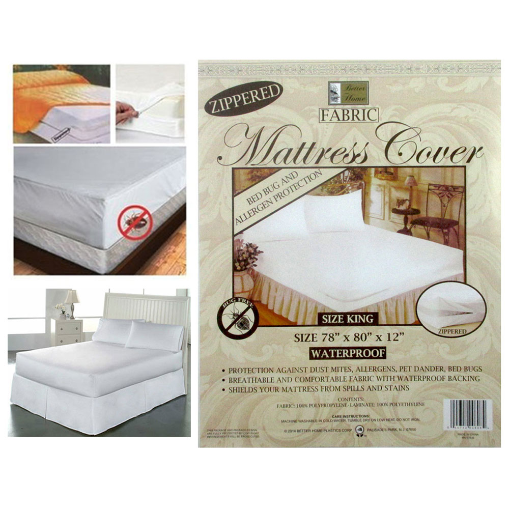Full Size Mattress Cover Fabric Waterproof Zipper Protects Against Bed Bugs