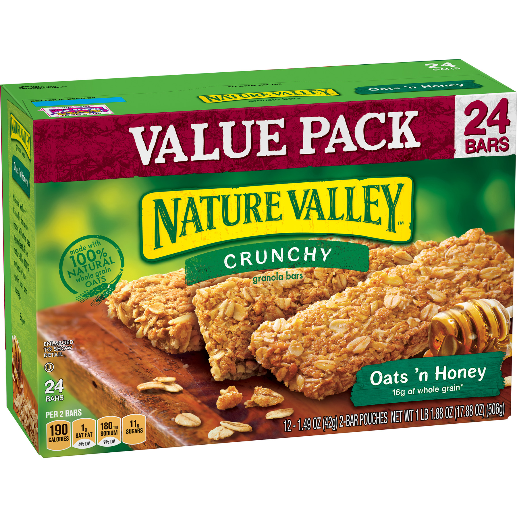 Nature Valley Granola Bars, Crunchy, Oats 'n Honey, 12 Pouches, 2-Bars Per Pouch (Total 24 Bars)